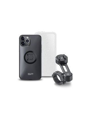 Pack complet SP-CONNECT Moto Bundle fixé sur guidon iPhone 11 Pro, SP CONNECT