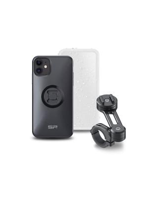 Pack complet SP-CONNECT Moto Bundle fixé sur guidon iPhone 11, SP CONNECT