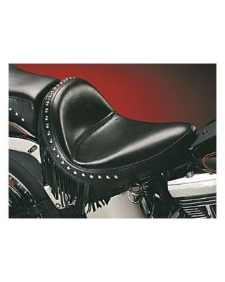 Selle solo Monterey, Smooth, avec franges, 08-17 Softail avec pneu de 150mm, LE PERA