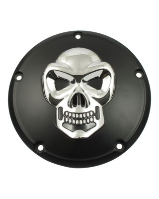 Cache embrayage 5 trous, BLK & CHR SKULL, 99-17 Dyna / 99-18 Softail / 99-15 Touring, Trike, MCS