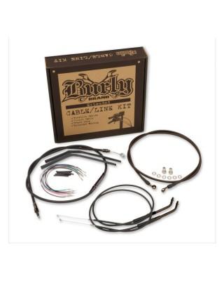 """Kit de câbles pour guidon T-Bar 12"""", Black, 16-17 Dyna FXDLS Lowrider S ABS, BURLY"""