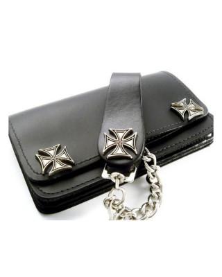amigaz - Portefeuille avec chaîne Black Leather Maltese Cross - Noir - AMIGAZ